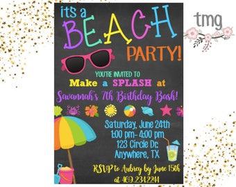 Beach party invite etsy beach party invitation beach themed party beach birthday birthday invitation digital file printable invites filmwisefo