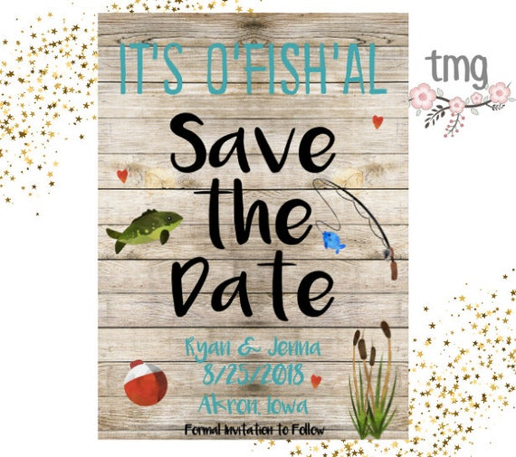 Save The Date Fishing Theme Save The Dates Wedding Fishing Etsy