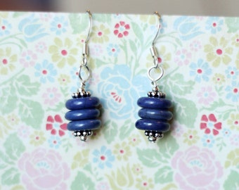 Handmade stacked blue and silver earrings