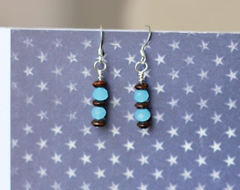 Handmade stacked blue and brown earrings