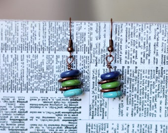 Handmade stacked blue, green, and turquoise