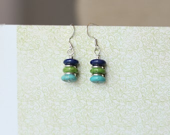 Handmade stacked blue, green, and turquoise beads