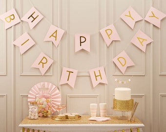 Happy Birthday Pink And Gold Bunting Party Garland Decorations Decoration