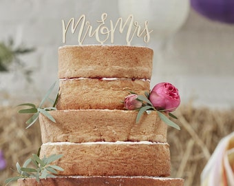 Wooden Mr & Mrs Cake Topper, Wooden Cake Decorations, Mr and Mrs Wedding Cake Decorations, Rustic Wedding