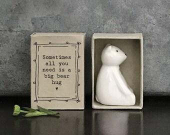 East of India Porcelain Bear Matchbox Gift, Birthday Gift, Wedding Keepsake, Friendship Gift
