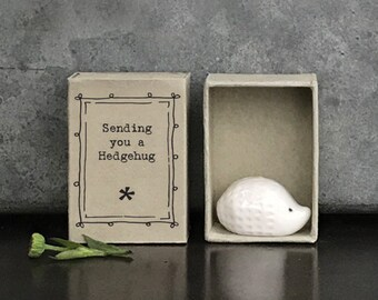 East of India Porcelain Hedgehog Matchbox Gift, Birthday Gift, Wedding Keepsake, Friendship Gift
