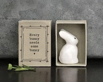 East of India Porcelain Bunny Matchbox Gift, Birthday Gift, Wedding Keepsake, Friendship Gift