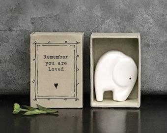 East of India Porcelain Elephant Matchbox Gift, Birthday Gift, Wedding Keepsake, Friendship Gift