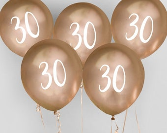 5 Gold 30th Birthday Balloons Thirtieth Party Decorations