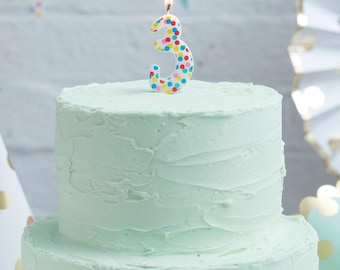 Number 3 Rainbow Candle Spotty Birthday Candles Cake Age Party Decor Girls Boys 3rd