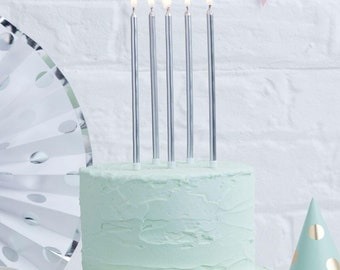 24 Metallic Silver Tall Candles Birthday Cake Anniversary Party Wedding Boys