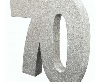 Silver Glitter 70th Birthday Party Table Decoration 70 Centrepiece Decorations Anniversary