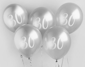 5 Silver 30th Birthday Balloons Thirtieth Party Decorations Decor