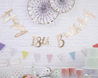 Gold Happy 18th Birthday Banner Bunting Party Decorations