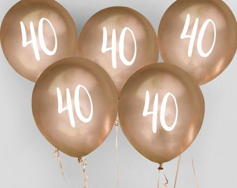 5 Gold 40th Birthday Balloons Fortieth Party Decorations