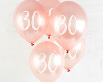 5 Rose Gold 30th Birthday Balloon Thirtieth Balloons Party Decorations