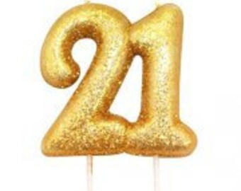 Number 21 Gold Glitter Candle 21st Birthday Cake Decorations Anniversary Party