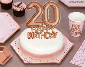 Pink Rose Gold 20th Happy Birthday Cake Topper Decor Decorations Girls Party