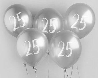 5 Silver 25th Birthday Balloons Twenty Fifth Party Decorations Decor
