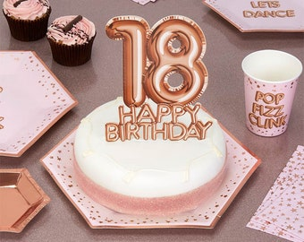 Pink Rose Gold 18th Happy Birthday Cake Topper Decor Decorations Girls Party