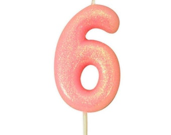 Number 6 Pink Glitter Candle Birthday Candles Cake Age Party Decor Girls 6th