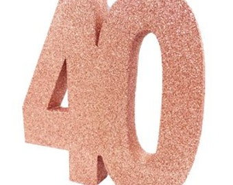 Rose Gold Glitter 40th Birthday Party Table Decoration 40 Centrepiece Decorations