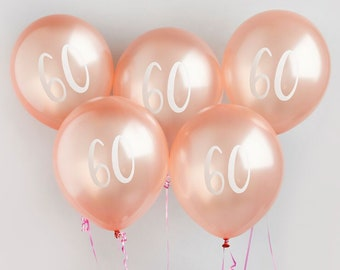 5 Rose Gold 60th Birthday Balloon Sixtieth Balloons Party Decorations