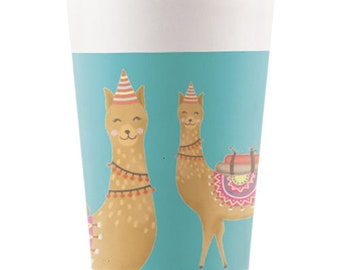 Party Tableware 8pk Birthday Party Summer Party 8 Llama Party Paper Cups Tea Party Tropical Party Wedding Tableware
