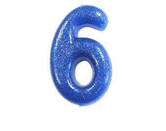 Number 6 Blue Glitter Candle Birthday Candles Cake Age Party Decor Boys 6th