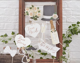 Botanics Wedding Photo Props Table Rustic Team Bride Groom Booth