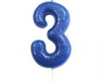 Number 3 Blue Glitter Candle Birthday Candles Cake Age Party Decor Boys 3rd