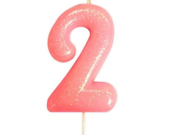 Number 2 Pink Glitter Candle Birthday Candles Cake Age Party Decor Girls 2nd