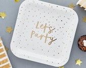 10 Gold Lets Party Plates, Gold Wedding Plates, Gold Anniversary Party, Engagement Party, Gold Party Decorations, Gold Party Tableware