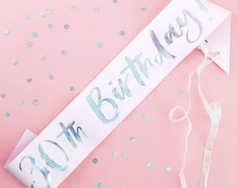 30th Birthday Sash Pink Iridescent Party Props