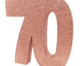 Rose Gold Glitter 70th Birthday Party Table Decoration 70 Centrepiece Decorations