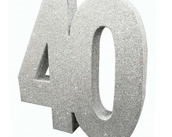 Silver Glitter 40th Birthday Party Table Decoration 40 Centrepiece Decorations Anniversary