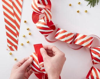 paper chains gold red pin stripe paper chains christmas paper chains festive chain garland kit christmas decorations christmas party - Christmas Chain Decorations