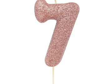 Number 7 Rose Gold Glitter Candle 7th Birthday Seventh Cake Decor Seven