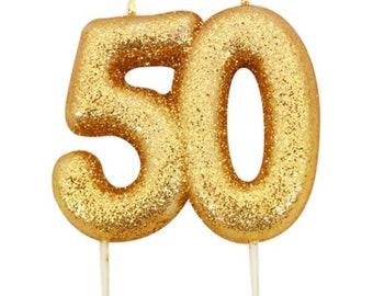 Number 50 Gold Glitter Candle 50th Birthday Cake Decorations Wedding Anniversary Party