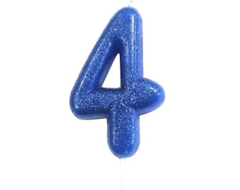Number 4 Blue Glitter Candle Birthday Candles Cake Age Party Decor Boys 4th
