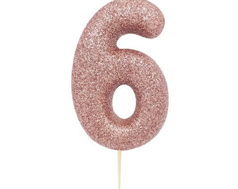 Number 6 Rose Gold Glitter Candle 6th Birthday Sixth Cake Decor Six