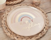 8 Pastel Rainbow Gold Paper Plates, Hen Party Plates, Rainbow Gold Birthday Plates, Birthday Party Plates