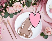 6 Rose Gold Hen Party Plates, Penis Plates, Team Bride Plates, Rose Gold Bachelorette Party, Bridal Shower Party Paper Plates