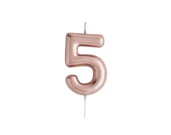 Number 5 Rose Gold Candle Birthday Candles Cake Age Party Decorations