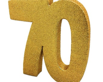 Gold Glitter 70th Birthday Party Table Decoration 70 Centrepiece Decorations