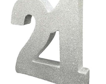 Silver Glitter 21st Birthday Party Table Decoration 21 Centrepiece Decorations Anniversary