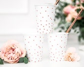6 Rose Gold Dot Cups, Birthday Party Cups, Rose Gold Baby Shower Paper Cups, Wedding Paper Cups, Hen Party Cups, Rose Gold Cups