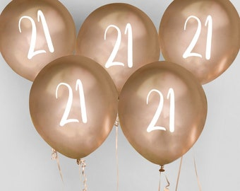 5 Gold 21st Birthday Balloons Twenty First Party Decorations