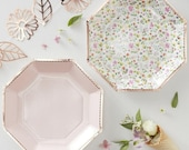 8 Rose Gold Floral Paper Plates, Birthday Party Plates, Tea Party, Floral Party Plates, Rose Gold Party, Pastel Party Plates, 8pk