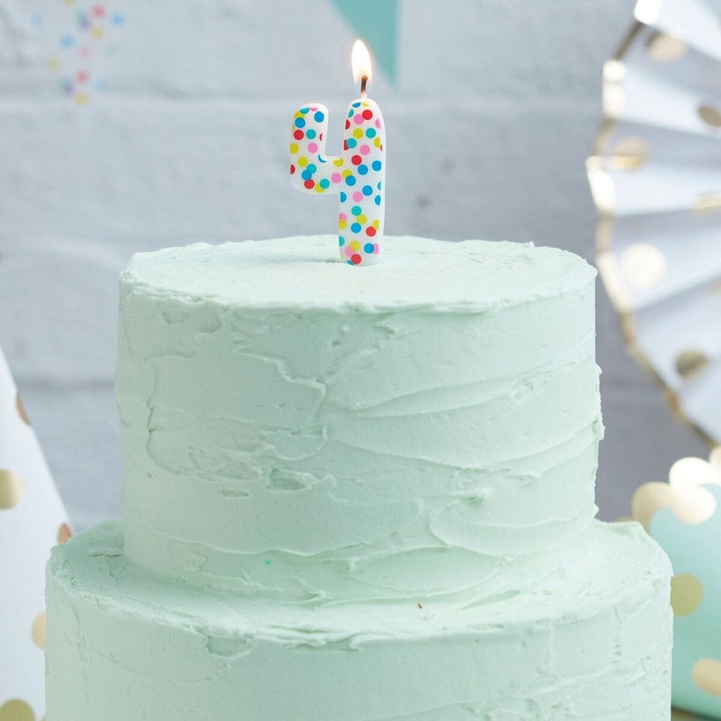 Number 4 Rainbow Candle Spotty Birthday Candles
